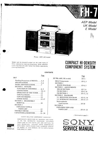 Sony FH7 Service Manual. Mauritron #3345