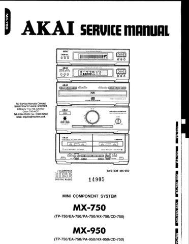 Akai HX750 Service Manual. Mauritron #3516
