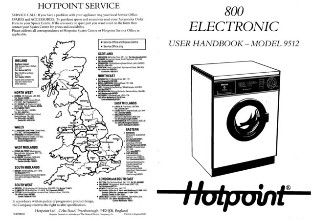Hotpoint 9512 Washer Operating Guide