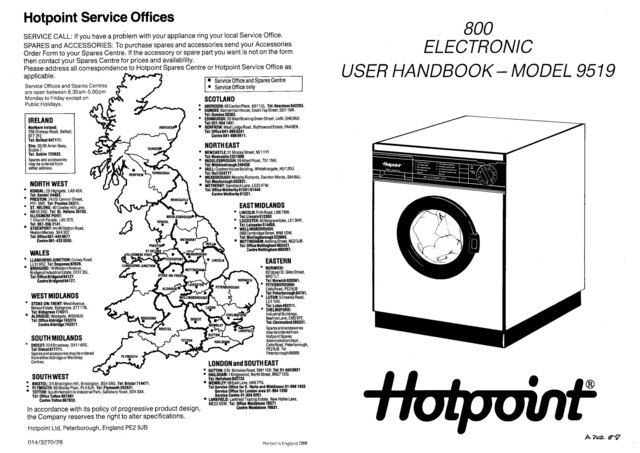 Hotpoint Electronic 800 Plus 9519 Washer Operating Guide