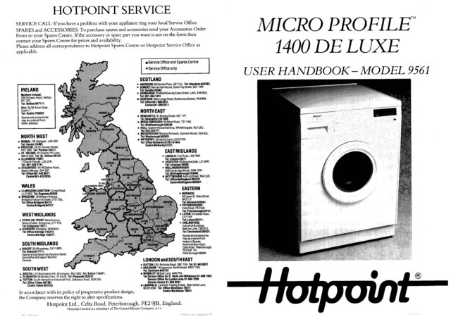 Hotpoint Micro Profile 1400 Deluxe 9561 Washer Operating Guide