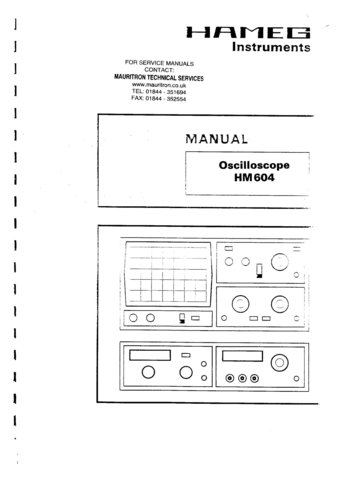 Hameg HM604 HM-604 Instructions Service Schematics Operating