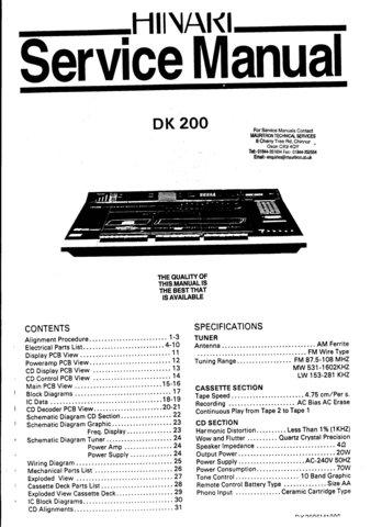 Hinari DK200 DK-200 Service Manual
