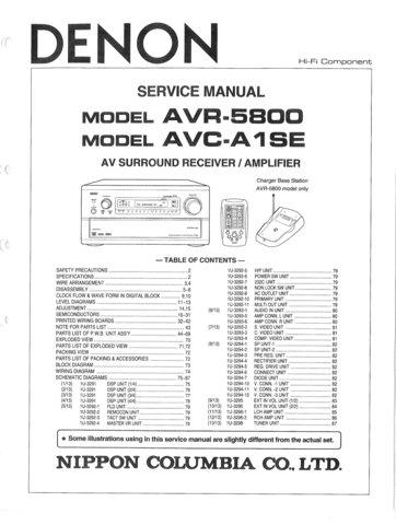 Denon AVCA1SE (AVC-A1SE) (AVCA-1SE) Service Manual