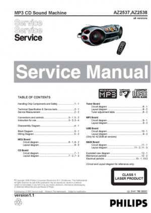 Philips AZ2537 (AZ-2537) Sound Machine Service Manual