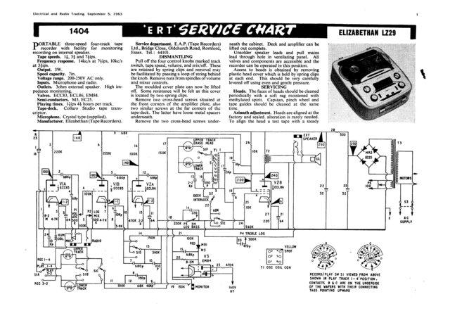 Elizabethan LZ29 (LZ-29) Tape Recorder Service Sheets