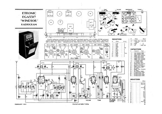 Etronic EGA5517 (EGA-5517) Windsor RG Service Sheets