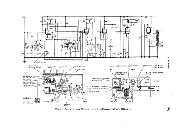 Etronic QGA532 (QGA-532) Radio Circuit Schematic Diagram