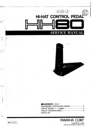 Yamaha HH80 (HH-80) Control Pedal Service Manual