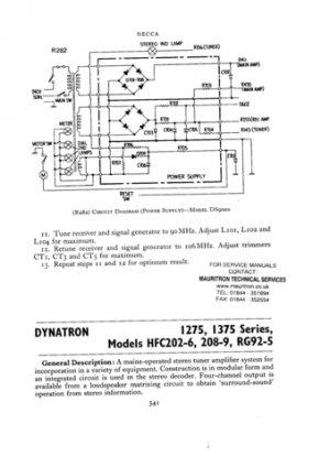 Dynatron HFC205 (HFC-205) TUA Service Sheet Schematics Set