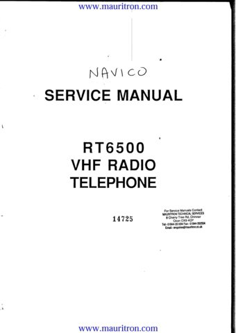 Navico RT6500 (RT-6500) Radiotelephone Service Manual