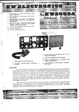 KW 2000A Transceiver Instruction Service Schematics and