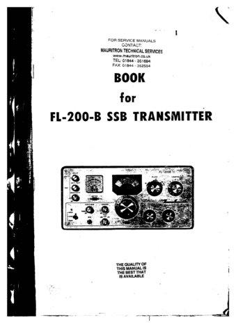 Yaesu FL200B (FL-200B) Transmitter Instructions Schematics