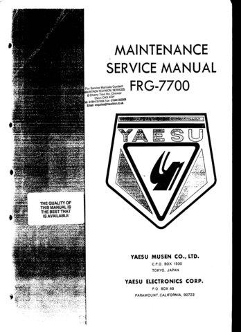 Yaesu FRG7700 (FRG-7700) Receiver Workshop Service Manual