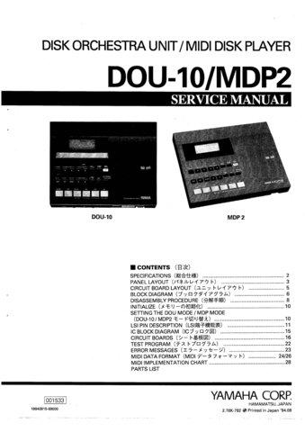 Yamaha DOU10 (DOU-10) Disk Orchestra Unit Service Manual