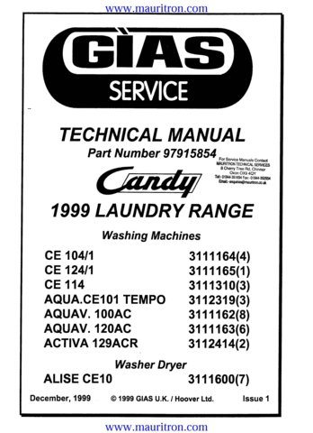 Candy Activa 129ACR Washing Machine Service Manual