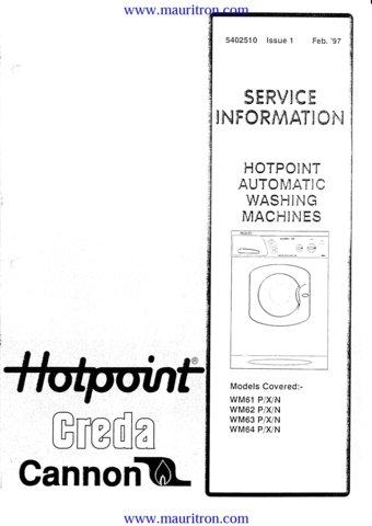 Hotpoint WM61N (WM-61N) Washing Machine Service Manual