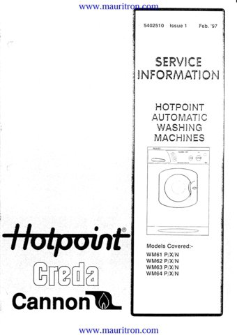Hotpoint WM63P (WM-63P) Washing Machine Service Manual