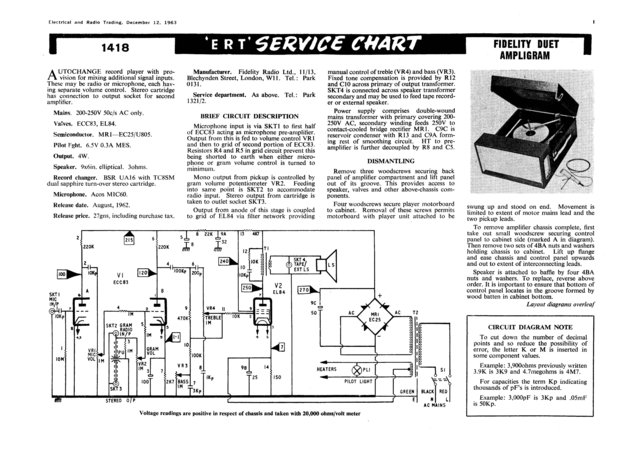 Fidelity Ampligram Record Player Service Sheets Schematics Set