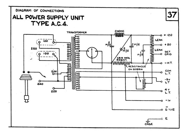 Marconi AC4 (AC-4) Power Supply Circuit Diagram Schematics