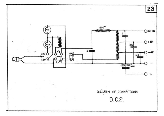 Marconi DC2 (DC-2) Power Supply Circuit Diagram Schematics