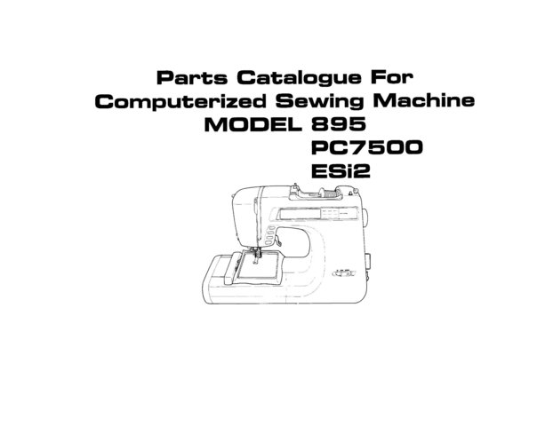 Singer PC7500 (PC-7500) Sewing Machine Parts Lists and