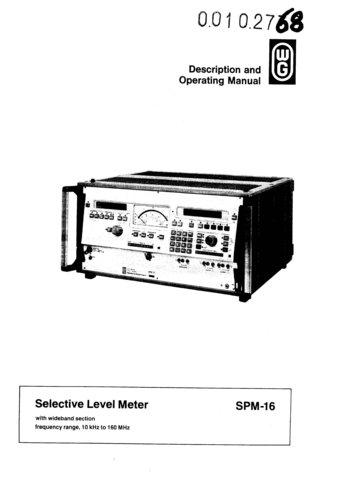 Wandel & Goltermann SPM16 (SPM-16) Selective Level Meter