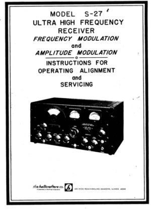 Hallicrafters S27 (S-27) Workshop Service Manual Receiver