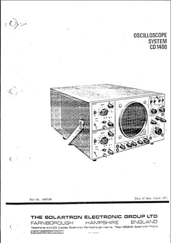 Cossor CD1400 (CD-1400) Oscilloscope Instructions