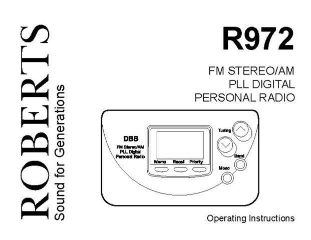 Roberts R972 (R-972) Analogue Radio Operating Guide User