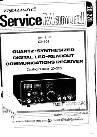 Radio Shack DX300 (DX-300) Receiver Service Manual