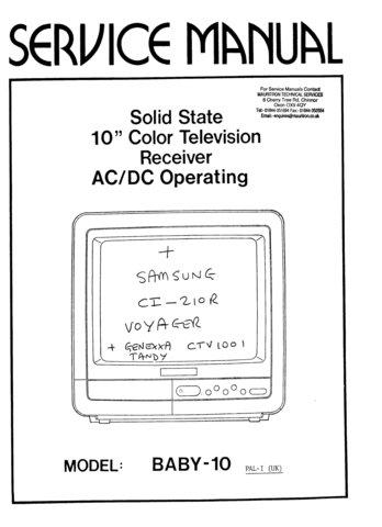 Genexxa CTV1001 (CTV-1001) Service Manual