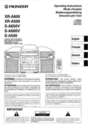 Pioneer XRA500 (XR-A500) (XRA-500) Service Manual