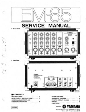 Yamaha EM85 (EM-85) Mixer Service Manual with Schematics