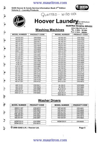 Hoover AB100 (AB-100) Washing Machine Service Manual