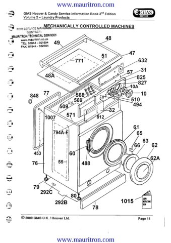 Hoover CA230 (CA-230) Washing Machine Service Manual
