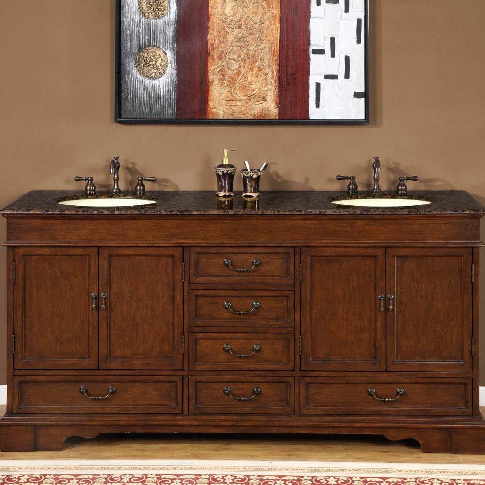 72 Revanna  Granite Bathroom Double Sink Vanity Cabinet