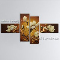 Handmade 4 Pieces Contemporary Wall Art Floral Painting ...
