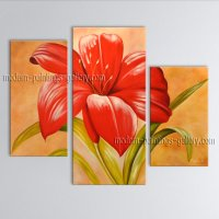 Handmade Triptych Contemporary Wall Art Floral Painting ...