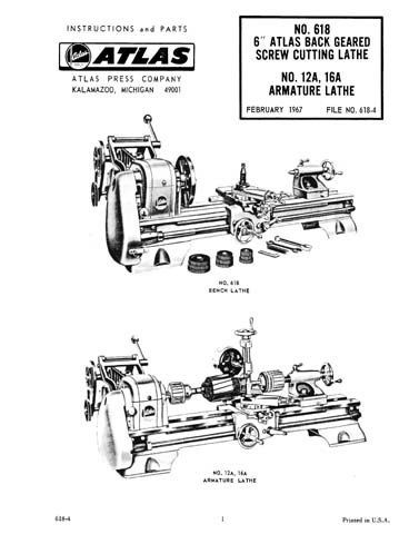 Atlas 6 Inch No. 618 Lathe Manual Instructions & Parts