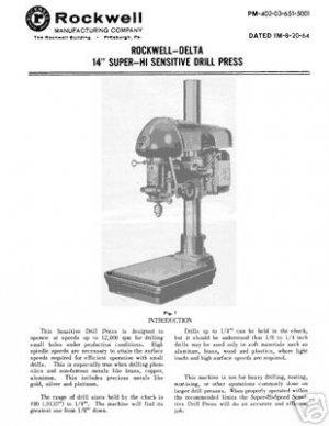 Rockwell Delta 14 Inch Hi Sensitive Drill Manual