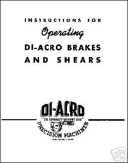 Diacro Hand Brakes, Shears and Benders Manual