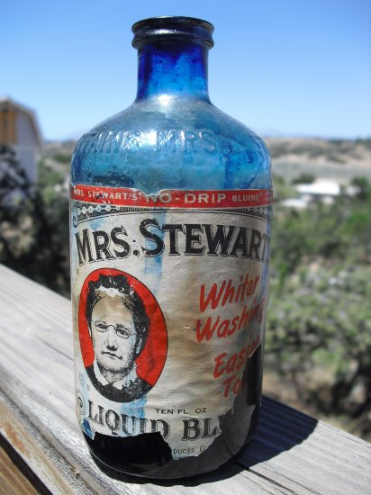 Vintage Mrs Stewarts Liquid Bluing Bottle