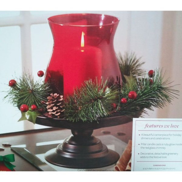 Holiday Wreath Pedestal Hurricane Candle Holder Ruby Red