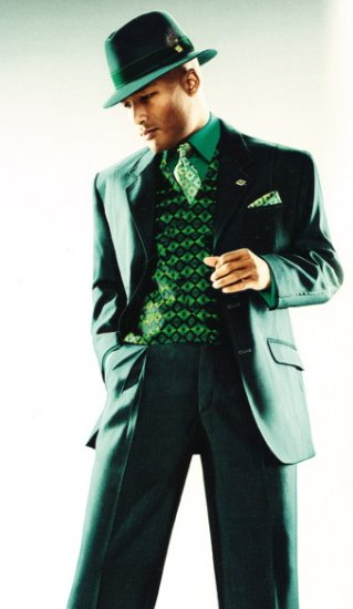 3pc Mens Green Stacy Adams Fashion Suit for Men