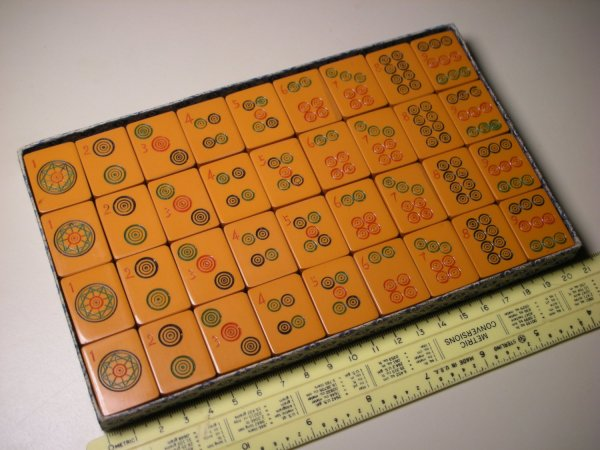 Mj02 - Vintage Chinese Mahjong Bakelite 36 Tiles Set Group