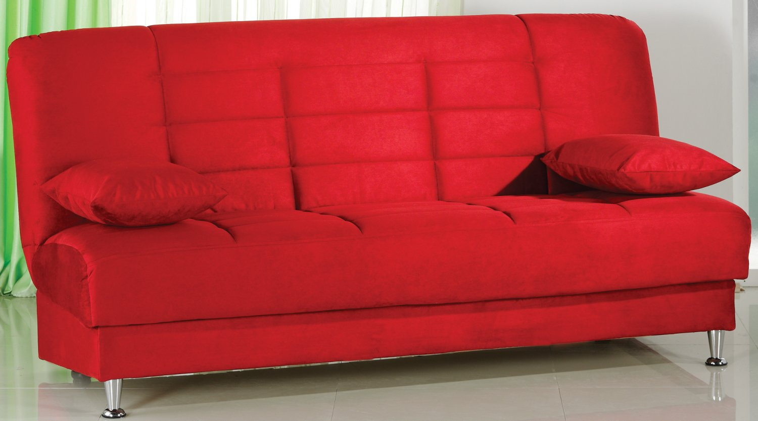 microfiber sofa bed com vegas red with storage