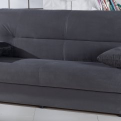 Grey Microfiber Sleeper Sofa Cheap Online Uk Regata Dark Gray Bed With Storage