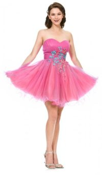 Poofy Fuchsia Homecoming Dress Short Puffy Strapless Tulle ...