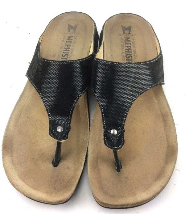 Mephisto Women 36 6 Agacia Leather Black Thong Sandal Flip Flop Comfort